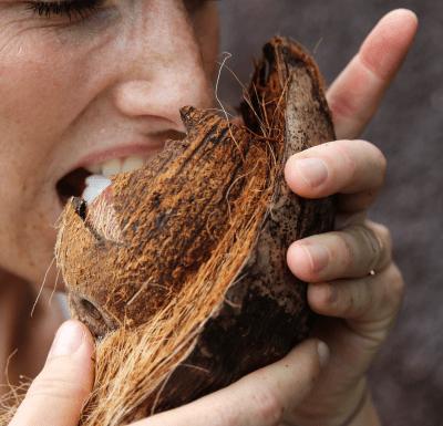 Bite on coconut